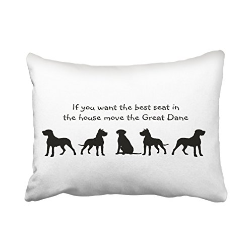 Accrocn Pillowcases Black and White Great Dane Humor Best Seat in House Dog Silhouette Cushion Decorative Pillowcase Polyester 20 x 26 Inch Rectangl Standard Size Pillow Covers Hidden Zipper