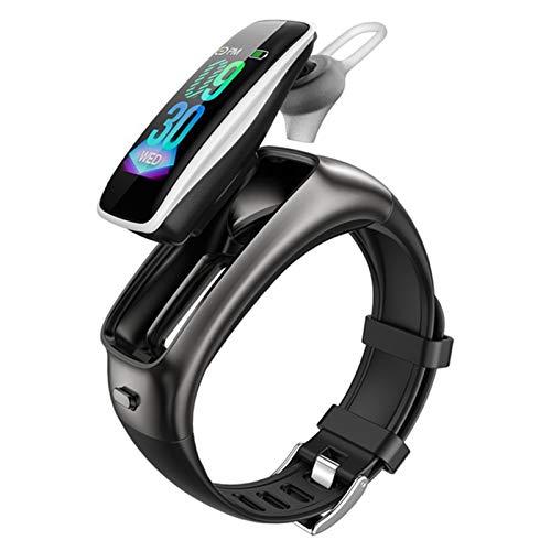 XYZK TB02 Pulsera De Fitness Auriculares Inalámbricos Bluetooth 2 En 1 Pedómetro Monitor De Ritmo Cardíaco Rema De Llamadas RECORDATORIO A Prueba De Agua Reloj Inteligente,G