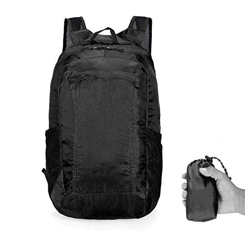 Kuingbhn Mochila De Senderismo Mochila Plegable Portátil Ligera Viajes (Size:Free Size; Color:Black)