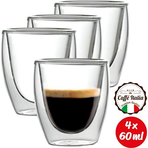 Caffé Italia Torino 4X Tasse Verre Double Paroi 60 ML - Tasse Expresso 8 cl - Espresso en Verre - Coffret de 4 Tasses à Café Double Paroi - Cadeau Parfait pour Toute Occasion