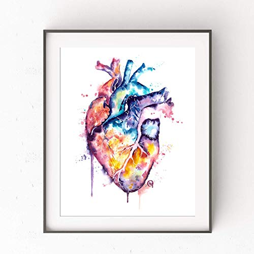 Heart Wall Art by Whitehouse Art | Anatomical Heart Watercolor Painting, Anatomy Art, Doctor Gift, Cardiovascular Artwork, Med School, Grad Gifts | Art Print of Original Heart Painting | 5 Sizes