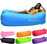Beiruoyu Inflatable Lounger Air Chair Sofa Bed Sleeping Bag Couch for Beach Camping Lake Garden (Blue-2)