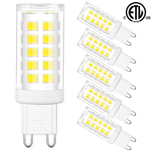G9 LED Bulbs Bi Pin Base - Honesorn 6000K Daylight Standard G9 Base Chandelier Light Bulb,4W(40W Halogen Equivalent),400LM Light Bulb for Home Lighting,360° Beam Angle,Non-dimmable,Pack of 6