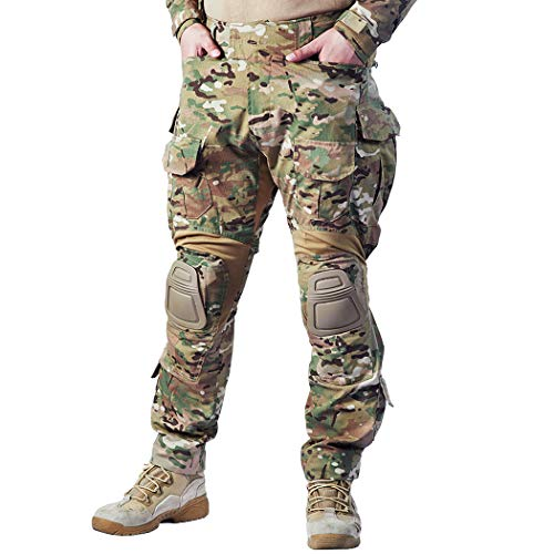 IDOGEAR G3 Combat Pants Multicam Men Pants with Knee Pads Airsoft Hunting Military Paintball Tactical Camo Trousers (Multicam, 38W/33L)