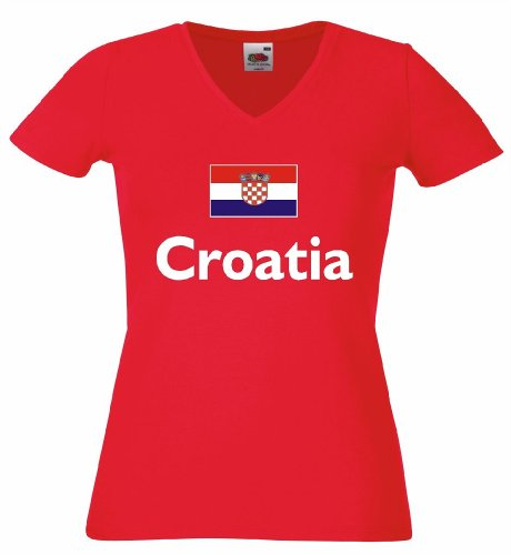 Fruit of the Loom Croatia/Kroatien Damen T-Shirt Trikotrot L