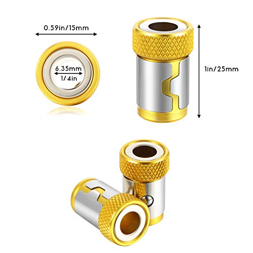 5 Pieces Magnetic Screw Ring Bit Magnetizer Ring Metal Magnetizer Screw, Removable for 1/4 Inch/ 6.35 mm Hex Screwdriver and Power Bits (Yellow)