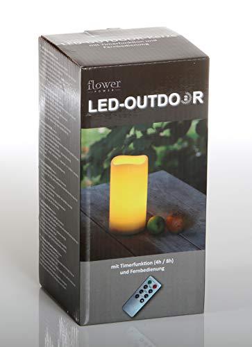 Unbekannt Flower Power LED Kerze Outdoor, Kunststoff, creme, 10x20cm