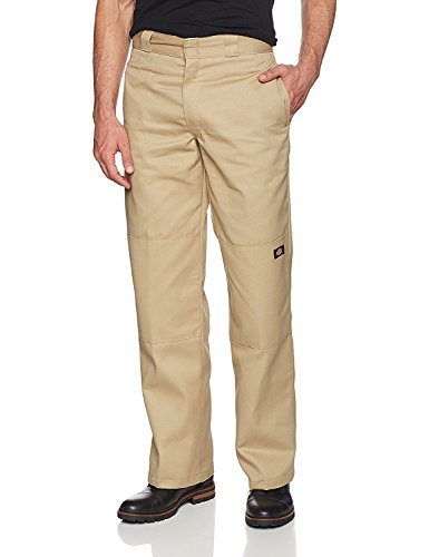 Dickies Men's Loose Fit Double Knee Twill Work Pant, Khaki, 46W x 30L