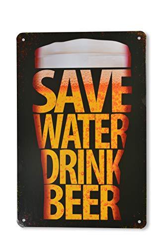 Krummer Hund Blechschild Bier Save Water. lustig - 30 x 20cm - Bierliebhaber - Türschild - Wandschild - Partykeller - Hobbykeller - Türschild - Thekenschild - Geschenk - 4 Löcher gebohrt Design (1)