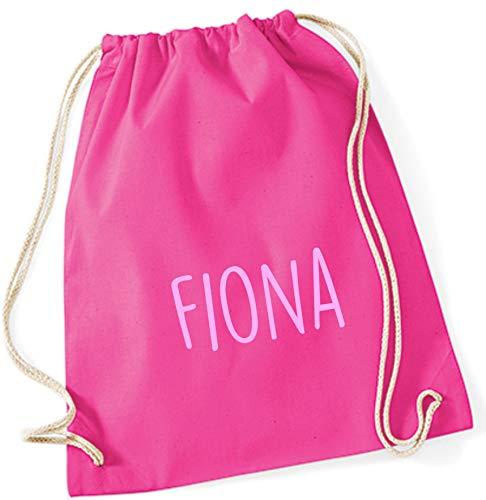 personalisierter Turnbeutel mit Namensdruck zum Zuziehen | Bedruckt mit Namen für Jungen & Mädchen | Zuziehbeutel Stoffbeutel in vielen Farben (pink)