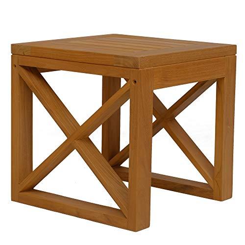 Teako Design Beistelltisch Molveno Teak unbehandeltes Massivholz Wetterfest robust Gartentisch Couchtisch Balkontisch