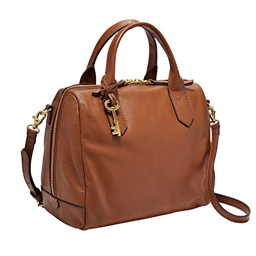 Fossil Women's Fiona Leather Satchel Handbag, Medium Brown