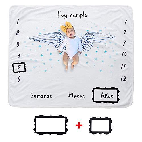 Hocaies Manta Bebe Manta Mensual Hito De Para Bebé Manta Bebe Personalizada Para Franela Adecuado para Regalos Originales para Bebes Recien Nacidos y Registros de Crecimiento Mensual.(100 * 10