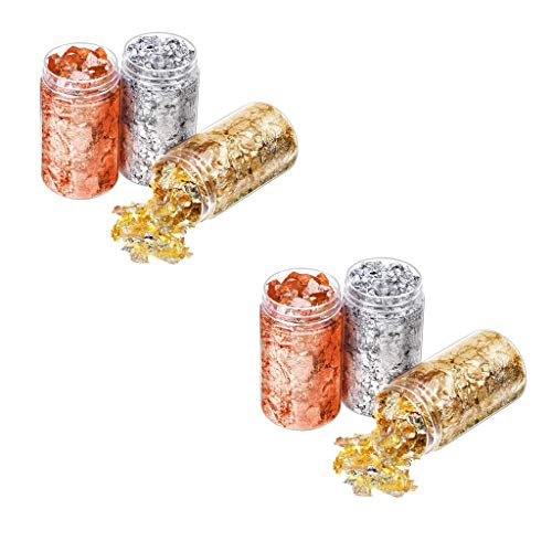 6Pcs Gold Leaf Flakes-Metal Gold Foil Flakes for Resin Crafts and Arts, Nails,