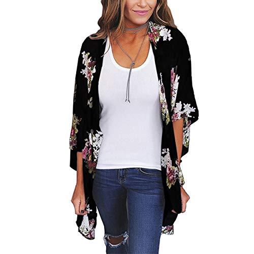ECOMBOS Damen Florale Kimono Cardigan - Chiffon Tops Cardigan Bluse Shawl Sommer Beachwear Cover up Leichte Boho Strand Jacke (Schwarz-b, M)