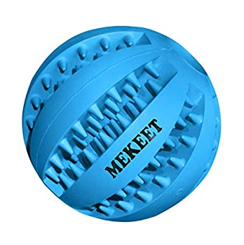 Dog Toy Ball, Dog Food Ball Tooth Cleaning Play Ball, Nontoxic Bite Resistant Toy Chew Ball for Small Medium Large Dog Puppy Cat (D-Bleu)