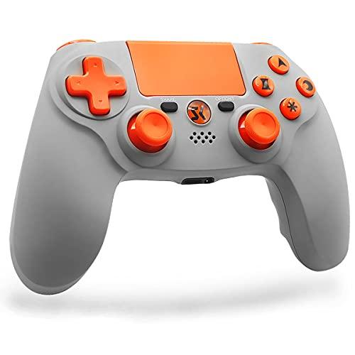 Lioeo Mando para PS4 Inalambricos, Gamepad Controller para Playstation 4 Inalámbrico de Doble Vibración Six-Axis con Touch Pad y Conector de Audio 3,5mm para Playstation 4 / PS3 / PC (Naranja Gris)