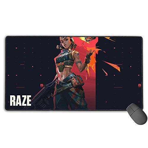 Raze Valorant - Alfombrilla de ratón profesional para videojuegos con bordes cosidos, base de goma antideslizante, 30 cm x 80 cm
