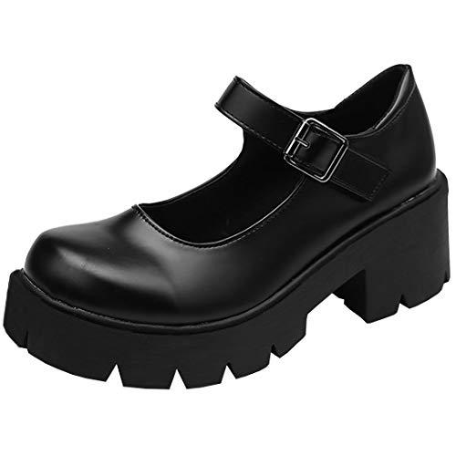 Etebella Damen Mary Jane Lolita Gothic Halbschuhe Blockabsatz Riemchen Pumps mit Plateau Cosplay Uniform Schuhe (Schwarz Pu,37)