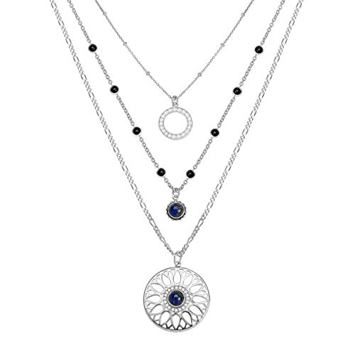 Silpada 'Moonflower' Natural Black Agate, Lapis, CZ Layered Necklace in Sterling Silver