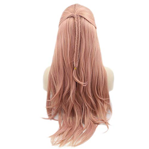 """Fishtail Braid Wigs Body Wave Pale Pink Synthetic Lace Front Wigs Glueless Natural Hairline For Women Girls Cosplay Festival 24"""""""