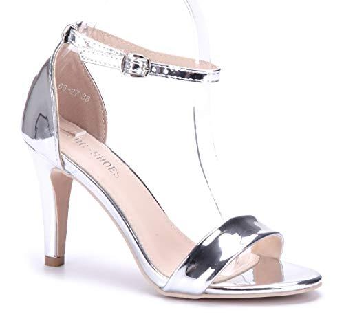 Schuhtempel24 Damen Schuhe Sandaletten Sandalen Silber Stiletto 9 cm