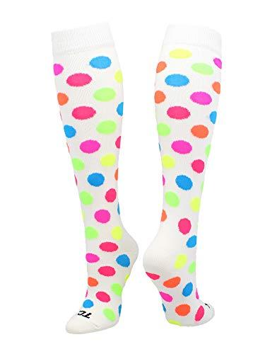 TCK krazisox weiß mit Neon Polka Dots Socken, Damen Jungen Herren Mädchen, weiß, Medium
