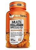 Multi Collagen Gummies Type 1,2,3,5 & 10 + Biotin for Hair Growth Skin & Nails Supplement Collagen peptide + Vitamin C & Zinc for Immune Support for Men & Women, Non-GMO, Gelatin-Free, 60 Gummies