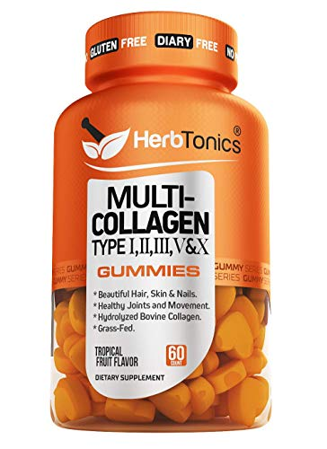 Multi Collagen Gummies Type 1,2,3,5 & 10 with Biotin for Hair Growth Skin and Nails Supplement Collagen peptide with Vitamin C and Zinc for Men and Women, Non-GMO, Gelatin-Free, 60 Gummies