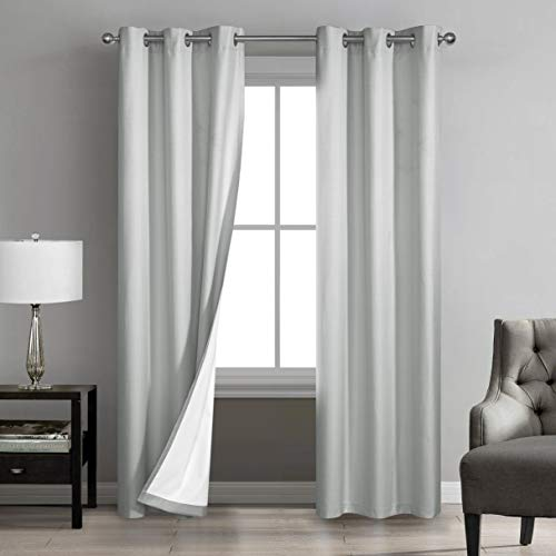 """Sunclipse Foley Solid Darkening Grommet Window Curtain Drapes for Bedroom/Living Room/Kitchen/Bathroom, Noise Reducing Thermal Insulated (2 Panels, Each 42"""" W x 63"""", or 84"""" L), 42x63, Light Grey"""