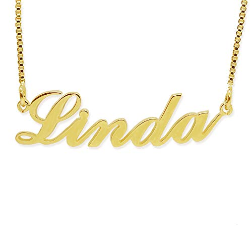 BINKILA Name Necklace Personalized Pendant Custom Necklace 18K Gold Nameplate Dainty Sterling Silver Gift for Mother Girlfriend (Linda - 18K Gold)