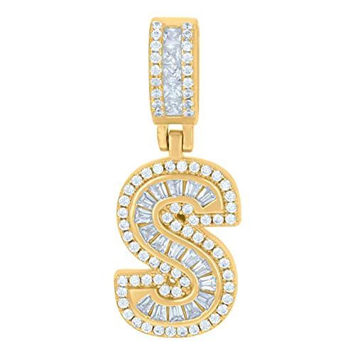 Colgante de plata de ley 925 unisex redondo y baguette con circonita cúbica nombre personalizado monograma inicial del alfabeto S colgante collar de joyería regalos para mujeres