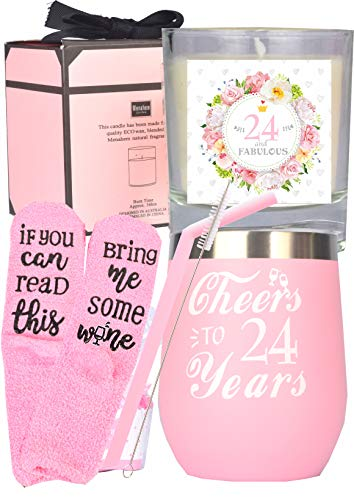 24th Birthday Gift for Woman, 24 Birthday Decorations for Her, 24th Birthday Gift Ideas, I'm 24, Best Turning 24 Year Old Birthday Gift Ideas for Her, 24th Birthday Cup, 24 and Fabulous