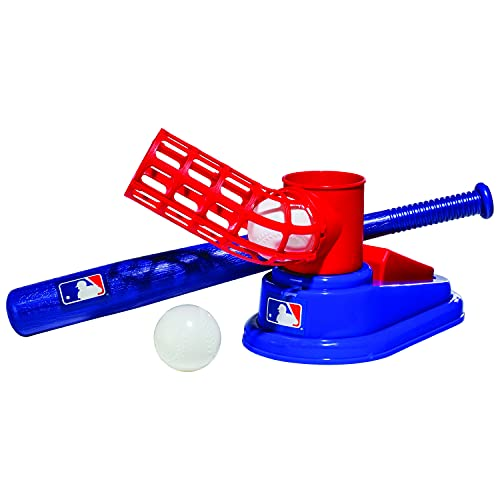 Franklin Sports MLB Baseball Pop A Pitch - Includes 25' Collapsible Plastic Bat and 3 Plastic Baseballs , Red/Blue