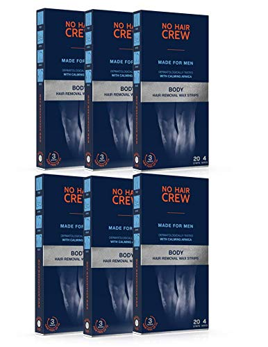 6 x NO HAIR CREW Premium Kaltwachsstreifen für den Körper – Haarentfernungs-wachs für Männer (6 x 20 Wachsstreifen