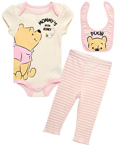 Disney Baby Girls 3 Piece Bodysuit Pant Set – Minnie Mouse Winnie The Pooh & Bambi (Newborn), (Size 0-3 Months, Cream/Pink Pooh Bear)
