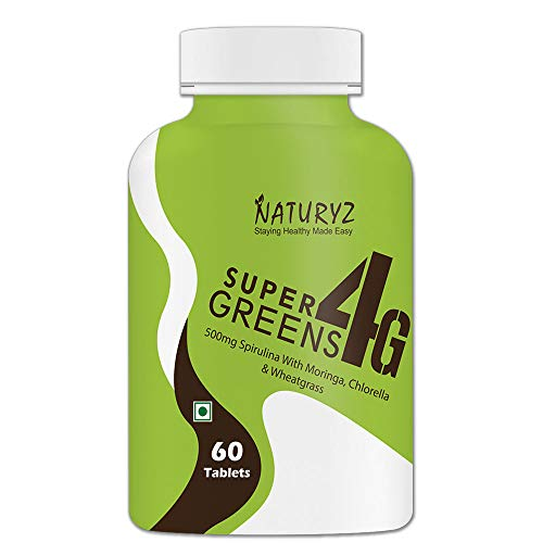 Naturyz Super Greens 4G daily Wholefood Multivitamin, antioxidant Supplement for Immunity and Detox with 4 Plant Superfoods (1000mg Spirulina, 400mg Moringa, 400mg Chlorella & 400mg Wheatgrass per serving) - 60 tablets