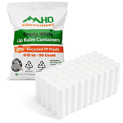 MHO Containers   Empty, White Lip Balm Containers - 30% Recycled PP Plastic - Made in USA - 0.15 oz - 50 count