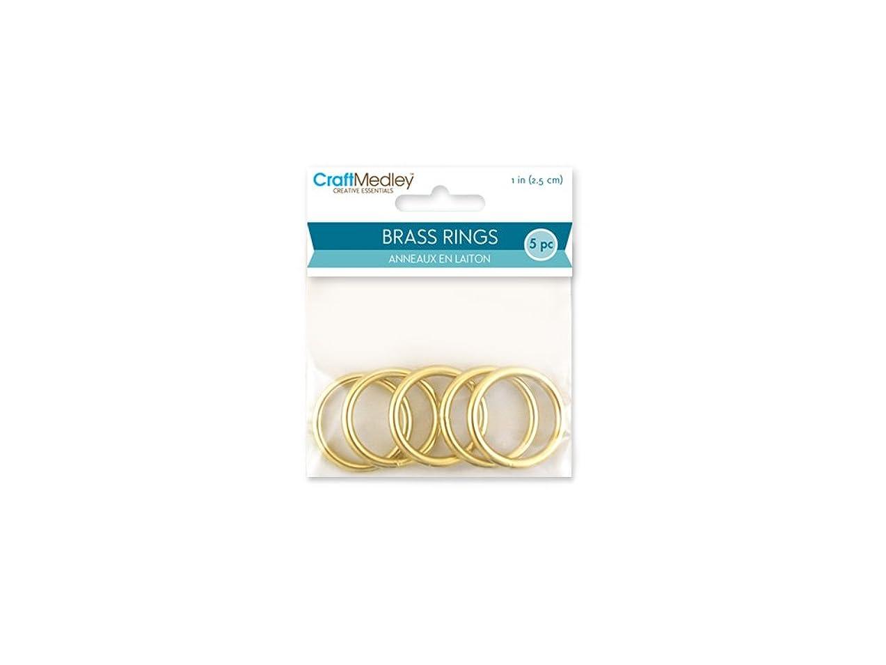 CraftMedley Brass Rings, 1in, Round, 5-Piece, 1