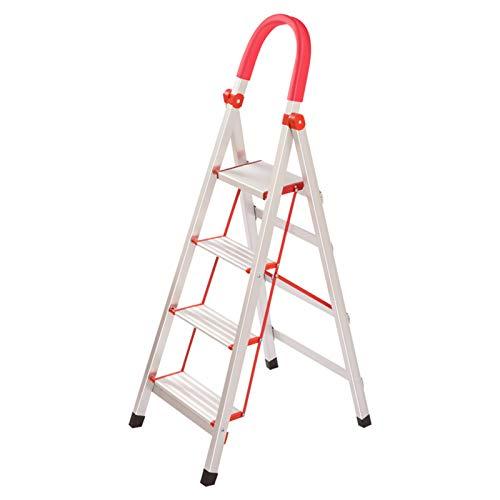 Escalera De Mano De Hierro Para Trabajos Pesados , Escalera De Mano Con Pasamanos Taburete De 3 Escalones Escalera De 4 Escalones - Pedal Superior De 18 Cm De Ancho -(Size:43*62*132CM,Color:Plata)