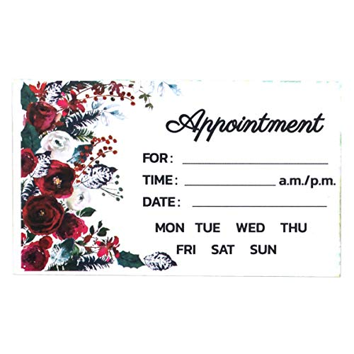 Appointment Reminder Cards (100 Count), flower Design, neutral design for business use, hair salon, nail salons, therapists, doctor, dental, 3.5 x 2 Inches