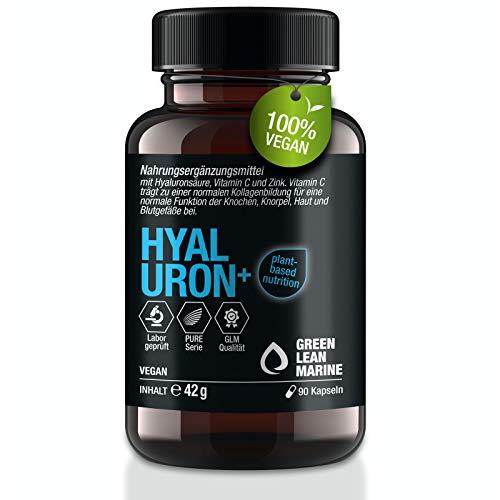 GREEN LEAN MARINE® Hyaluron Kapseln hochdosiert - 90 Hyaluronsäure Kapseln hochdosiert mit Vitamin C + Zink – für Gelenke, Haut und Anti Aging Kapseln - Hyaluron Kapseln Vegan.