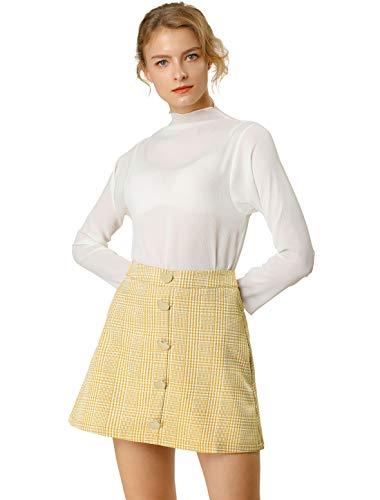 Allegra K Mini Falda A-Línea De Cuadros De Pata De Gallo Decoración del Botón del Corazón Cintura Alta para Mujeres Amarillo M