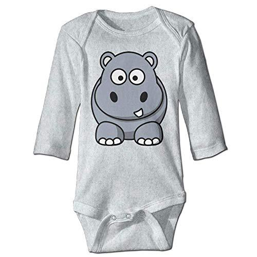 Unisex Infant Bodysuits Hippo Girls Babysuit Long Sleeve Jumpsuit Sunsuit Outfit Ash
