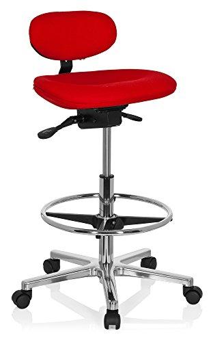 hjh OFFICE 608331 Arbeitsstuhl hoch WORK MF Stoff Rot Stehhilfe Büro Drehhocker mit Lehne & Rollen, höhenverstellbar