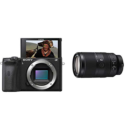 Sony Alpha 6600 | APS-C Spiegellose Kamera (Schneller 0,02s Autofokus, optische 5-Achsen-Bildstabilisierung im Gehäuse) & Tele-Zoom Objektiv (70-350 mm, F4.5-6.3, OSS, APS-C) schwarz