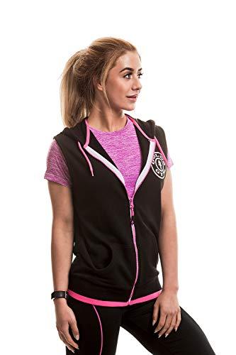 Gold's Gym Damen Muscle Joe Ladies Premium Sleeveless Hoodie Sportpullover, Schwarz (Black/Hot Pink Black/Hot Pink), L