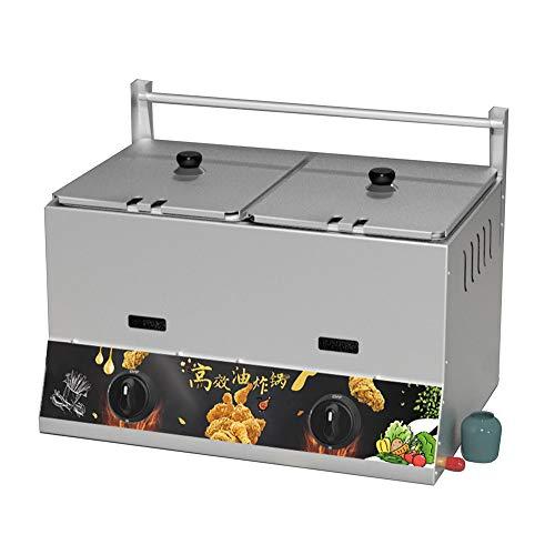 ZLYD Freidora de Gas Doble Tanque Acero Inoxidable, 22L, juste Manual de Temperatura, con Cesta extraíble,Adecuada para restaurantes, Alimentos fritos como Pollo Frito