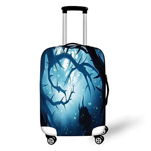 Travel Luggage Cover Suitcase Protector,Mystic House Decor,Animal with Burning Eyes in Dark Forest at Night Horror Halloween Illustration,Navy White,for Travel S