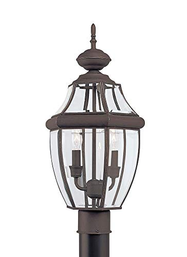 Sea Gull Lighting 8229-71 Lancaster Traditional Two Outdoor Light Post Outside Fixture, 21.5'' Height, Antique Bronze